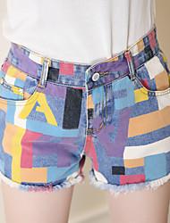 cheap -Women's High Rise Micro-elastic Wide Leg Jeans Shorts Pants,Cute Color Block Cotton Summer