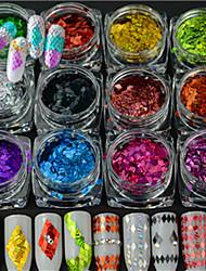 13 bouteilles / set chaud mode diy beauté ongle art rayure laser rhombus fine coupe design coloré éblouissante décoration paillette