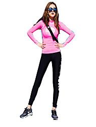 baratos -Mulheres Conjunto Camiseta e Calça de Corrida Manga Longa Térmico/Quente Secagem Rápida Macio Confortável Conjuntos de Roupas para Ioga
