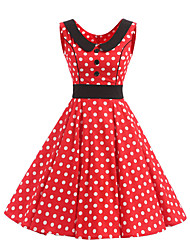 cheap -Women's Rockabilly Vintage Dress Red White Polka Dot Round Neck Knee-length Sleeveless Cotton All Seasons Mid Rise