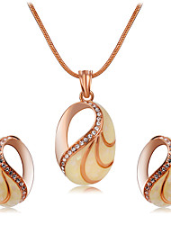 Per donna Ciondoli Collana Strass Di tendenza Euramerican Pietre sintetiche Zircone cubico Lega Ovale 1 collana 1 paio di orecchini Per