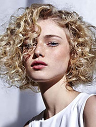 Short Ombre Bouncy Curly Wig For Black Women Naturally Synthetic Black To Blonde Color Hair Heat Resistant Synthetic Wig