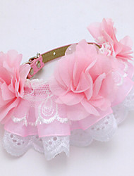 cheap -Dog Collar Adjustable / Retractable Breathable Safety Training Solid Lace Pink