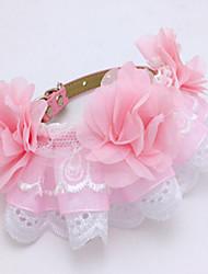 Недорогие -Собака Ошейники Регулируется / Выдвижной Дышащий Безопасность Тренировки Однотонный Кружево Розовый
