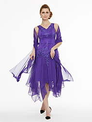 cheap -A-Line V Neck Asymmetrical Chiffon Satin Mother of the Bride Dress with Beading Pleats by LAN TING BRIDE®