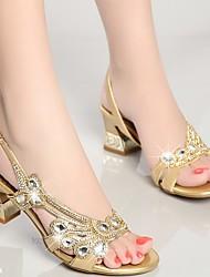 abordables -Mujer Zapatos Cuero de Napa Verano Zapatos del club Sandalias Tacón Cuadrado Pedrería Dorado / Morado / Azul / Fiesta y Noche / Fiesta y Noche
