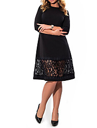 Women's Plus Size Going out Party Vintage Sheath Dress,Solid Round Neck Knee-length ½ Length Sleeve Cotton Polyester Summer High Rise