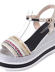 Women's Sandals Comfort PU Summer Casual Walking Comfort Buckle Low Heel Gold Black 2in-2 3/4in