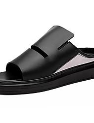Men's Shoes Cowhide Summer Comfort Slippers & Flip-Flops Walking Shoes Split Joint For Casual White Black