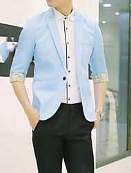 cheap -Men's Slim Blazer-Color Block,Patchwork Notch Lapel / Please choose one size larger according to your normal size.