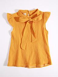 Bluse Lässig/Alltäglich einfarbig Baumwolle Sommer