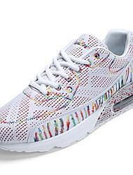 Women's Athletic Shoes Spring Fall Comfort PU Casual Flat Heel Split Joint Black/White Black Walking