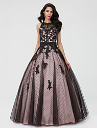 Ball Gown Jewel Neck Floor Length Taffeta Tulle Formal Evening Quinceanera Dress with Beading Lace Pleats by TS Couture®
