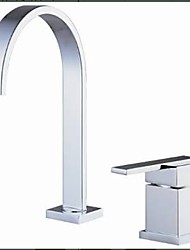 Contemporary Widespread Waterfall Ceramic Valve Two Holes Single Handle Two Holes Chrome , Bathroom Sink Faucet