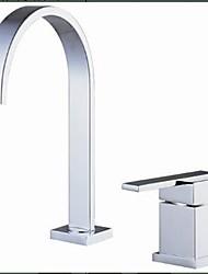 preiswerte -Moderne 3-Loch-Armatur Wasserfall Keramisches Ventil Zwei Löcher Einzigen Handgriff Zwei Löcher Chrom, Waschbecken Wasserhahn
