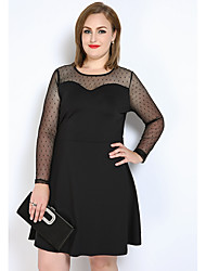 Really Love Women's Plus Size Casual/Daily Party Sexy Simple Cute A Line Shift T Shirt Dress,Polka Dot Color Block Round Neck Knee-length Long Sleeve