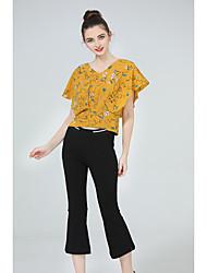 T-shirt Pantalone Completi abbigliamento Da donna Casual Semplice Estate,Con stampe A V Ritagliata Pant Anelastico