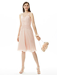 A-Line Spaghetti Straps Knee Length Chiffon Lace Bridesmaid Dress with Sash / Ribbon Pleats by LAN TING BRIDE®