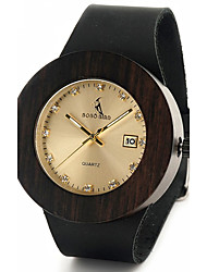 Herre Modeur Armbåndsur Unik Creative Watch Casual Ur Ur Træ Japansk Quartz Japansk Quartz Kalender Af Træ Ægte læder BåndVintage Sej