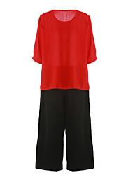 baratos -Mulheres Camisa Social Sólido Calça