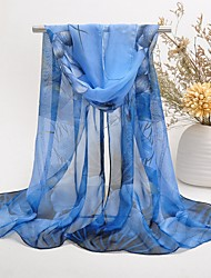 cheap -Women's Chiffon Scarf Cute Party Casual Rectangle Purple/Yellow/Green/Red/Royal Blue Print Scarves