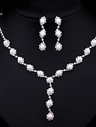 cheap -Women's AAA Cubic Zirconia Imitation Pearl Jewelry Set 1 Necklace 1 Pair of Earrings - Multi-ways Wear Fashion Round Jewelry Set Pearl