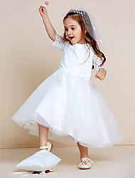 a-line vestito ragazza fiore lunghezza tè - manica corta collana gioiello manica corta con pizzo da thstylee