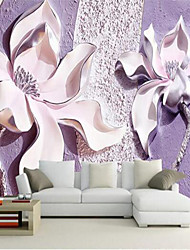 cheap -Floral 3D Home Decoration Contemporary Wall Covering, Canvas Material Adhesive required Mural, Room Wallcovering