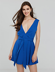 cheap -Women's Backless Going out / Daily / Formal Sexy Swing Dress Blue / Pink / Red / Black PolyesterAll