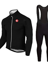 cheap -KEIYUEM Long Sleeves Cycling Jersey with Bib Tights - Black Bike Clothing Suits, 3D Pad, Thermal / Warm, Quick Dry, Breathable,