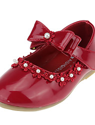 cheap -Girls' Shoes Leatherette Spring Comfort / Flower Girl Shoes Flats Bowknot / Imitation Pearl / Appliques for White / Black / Red
