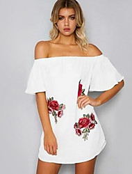 cheap -Women's Beach Holiday Loose Skater Dress - Floral White Mini Boat Neck