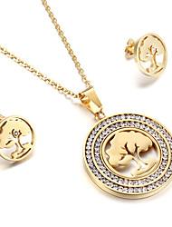 Damen Schmuckset Strass Freundschaft Modisch Euramerican USA Britisch Klassisch Edelstahl Baum des Lebens 1 Halskette 1 Paar Ohrringe Für