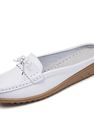 cheap -Women's Shoes Cowhide Spring Summer Comfort Loafers & Slip-Ons Flat Heel for Athletic Casual Office & Career Dress Party & Evening White
