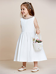A-Line Tea Length Flower Girl Dress - Cotton Sleeveless Jewel Neck with Draping by thstylee