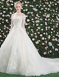 Princesa barco pescoço catedral trem crepe vestido de casamento com lantejoulas com cristal por qz