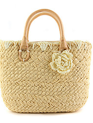 cheap -Women's Bags Straw Tote Flower for Casual Outdoor Summer Beige Yellow Coffee Deep Blue Arm Green