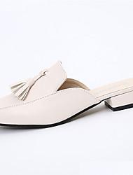 Dámské Boty PU Jaro Léto Pohodlné Sandály Nízký podpatek Kulatý palec Třásně Pro Ležérní Šaty Černá Béžová