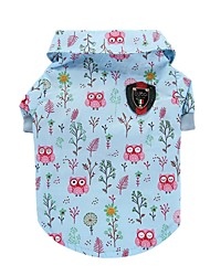 cheap -Cat Dog Shirt / T-Shirt Vest Dog Clothes Summer Animal Cute Fashion Casual/Daily Owl Blue