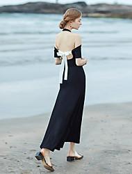 levne -Dámské Plážové Swing Šaty - Jednobarevné Maxi