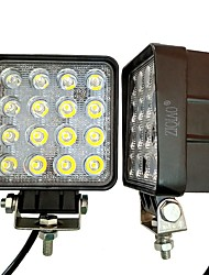 cheap -ZIQIAO 1pcs 4 Inch 48W LED Work Light for Indicators Motorcycle Driving Offroad Boat Car Tractor Truck 4x4 SUV ATV Flood 12V 24V