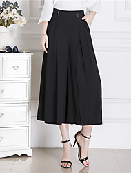 abordables -Mujer Casual Tiro Alto Perneras anchas Chinos Pantalones,Un Color Verano