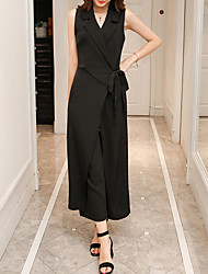 cheap -Women's Jumpsuit - Solid Colored High Rise Wide Leg V Neck