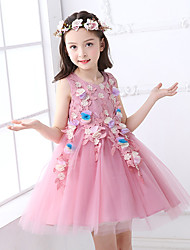 Ball Gown Short / Mini Flower Girl Dress - Tulle Sleeveless Jewel Neck with Applique by YDN