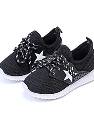 Girls' Athletic Shoes Comfort PU Spring Summer Athletic Casual Comfort Lace-up LED Flat Heel Black Blue Blushing Pink Flat