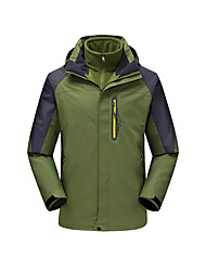 Men's 3-in-1 Jackets Waterproof Thermal / Warm Windproof Fleece Lining Rain-Proof Wearable Breathable Detachable Cap Comfortable