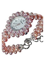 Women's Fashion Watch Bracelet Watch Quartz Jade Band Pink