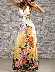 cheap -Women's Beach Casual Sheath Dress - Floral Maxi V Neck