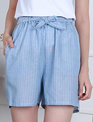 Feminino Moda de Rua Cintura Alta strenchy Chinos Shorts Calças,Reto Delgado Listrado