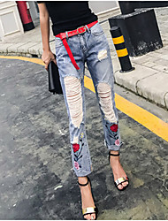 cheap -Women's High Rise Micro-elastic Straight Jeans Pants,Casual Sexy Solid Print Summer